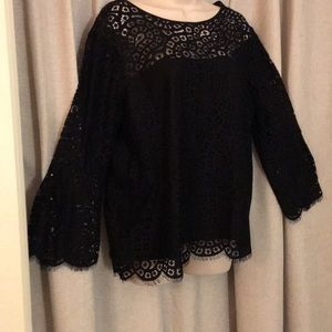 Black lace lined blouse